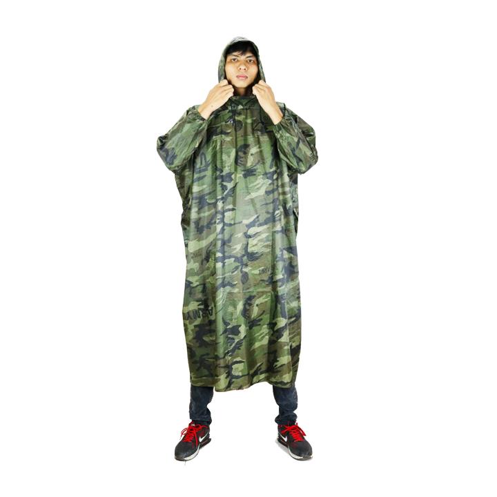 Áo mưa bít không xẻ tà vải dù lính cao cấp 1m4