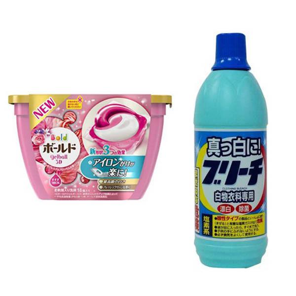 Combo Hộp 18 viên nước giặt xả hương hoa + Nước tẩy quần áo 600ml nội địa Nhật Bản