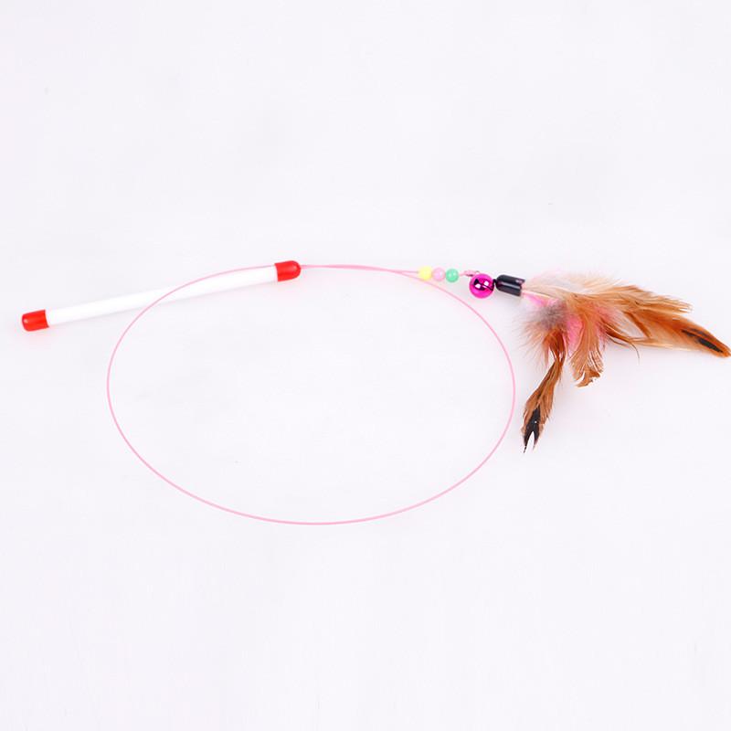 Đồ chơi cần câu mèo bằng thép gắn lông dành cho mèo